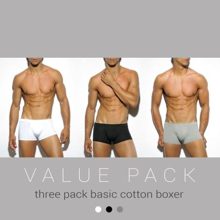 Boxerky ES Collection UN185P Basic Cotton Boxer 3 ks