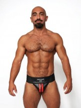 Jocksy Mister B Leather Premium Jockstrap černo-červené
