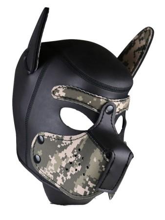 Psí maska Neoprene Puppy Hood maskáčovo-černá