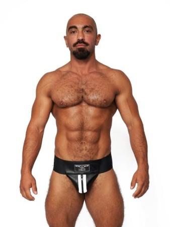 Jocksy Mister B Leather Premium Jockstrap černo-bílé