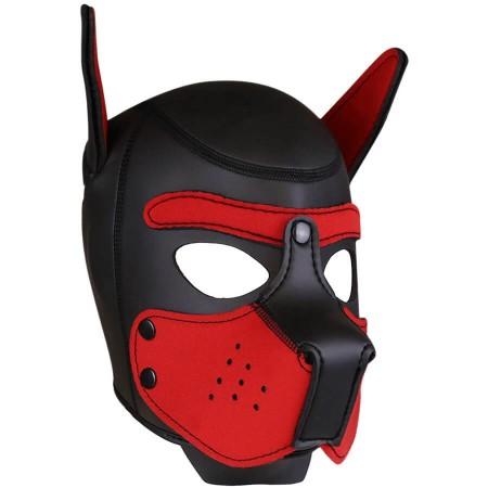 Psí maska Neoprene Puppy Hood červeno-černá