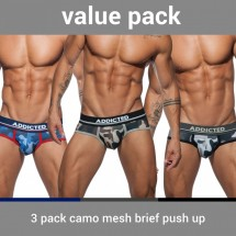 Slipy Addicted AD697P Camo Mesh Brief Push Up 3 ks