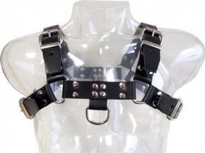 Kožený postroj Mister B Chest Harness Saddle Leather černý