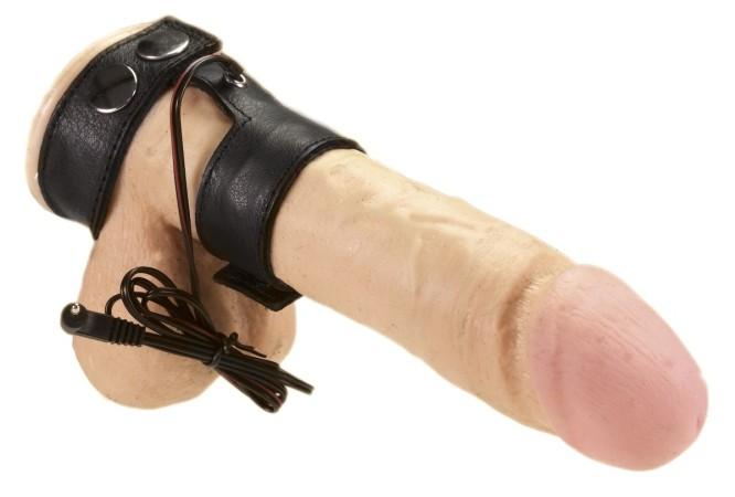 Kožený dvojkroužek Rimba Electro Sex Leather Penis Straps